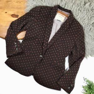Anthropologie || cartonnier brown polka dot blazer